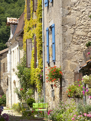 Lane and buildings in St Jean de Cole, Dordogne, France