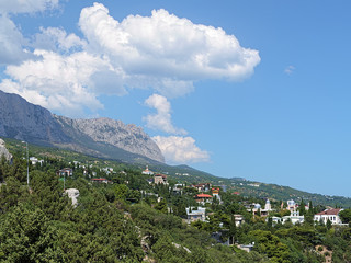 Simeiz settlement and clouds over the mountain Ai-Petri, Crimea