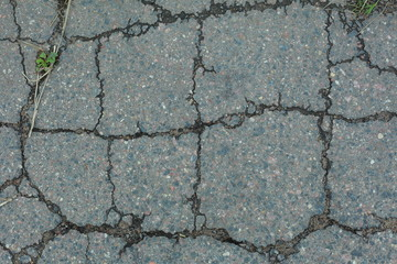 Cracked texture of asphalt road