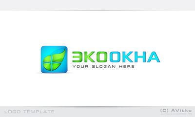 Logo template, abstract, ecology, window, icon, leaf, eco