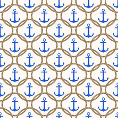 Seamless nautical pattern with blue anchors and rope background