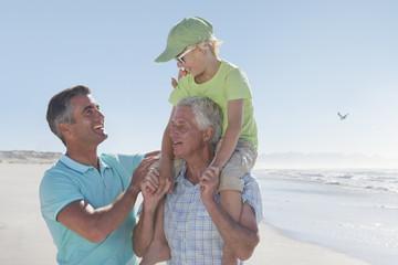 Multi-generation men on sunny beach
