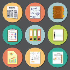 vector icon set of paper and documents