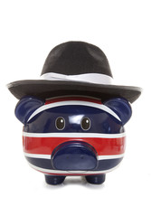 piggy bank wearing mafia hat