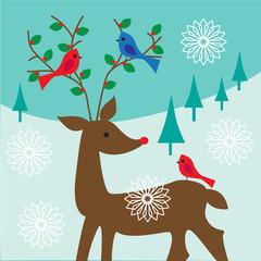 birds on antlers