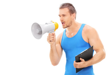 Fitness instructor shouting on a megaphone