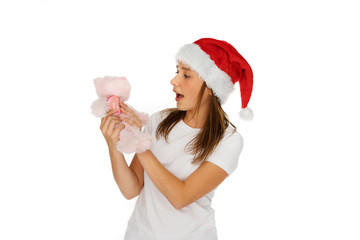 Young girl in red Santa Hat