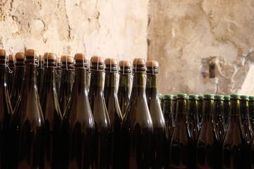 disposizione bottiglie di vino in cantina