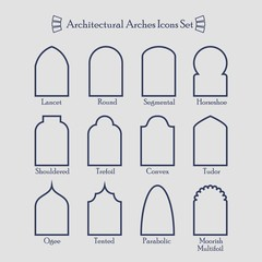 Set of common types of architectural arche thin outline icons