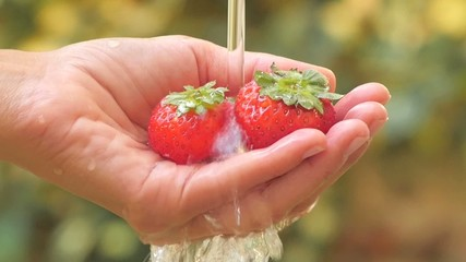 strawberries in hand under flowing water slow motion