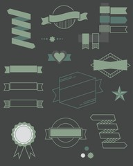 Set of web ribbons and labels icons