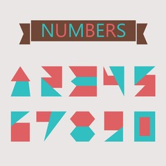 Flat geometric numbers icons with diffenert shapes