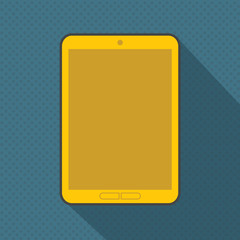 Abstact yellow digital tablet on blue dotted seamless pattern