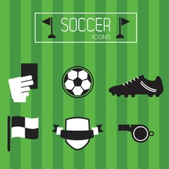 Flat black and white soccer icons set