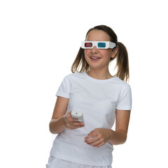 Young girl wearing 3d glasses