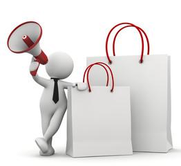 omino bianco con shop bag e megafono