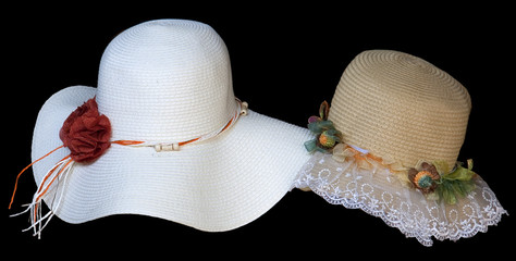 Old style ladies hats .One is white lady hat with red rose ribbo
