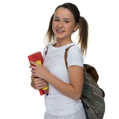 Smiling happy attractive young schoolgirl