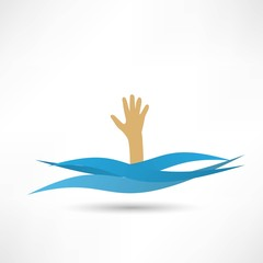 Drowning and reaching out hand for help