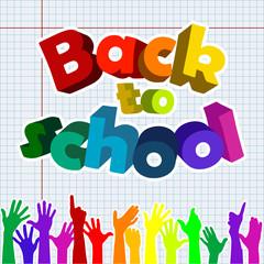Back to school with raising hands, vector