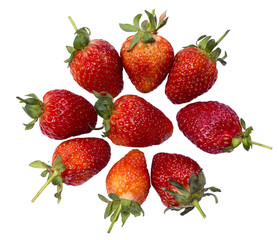 Nine of Fresh strawberry  lay on Isolated  background.