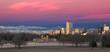 Denver Colorado and Rocky Mountain Skyline at Sunrise