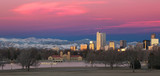 Denver Colorado and Rocky Mountain Skyline at Sunrise poster