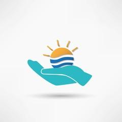 Sun in hand creative idea