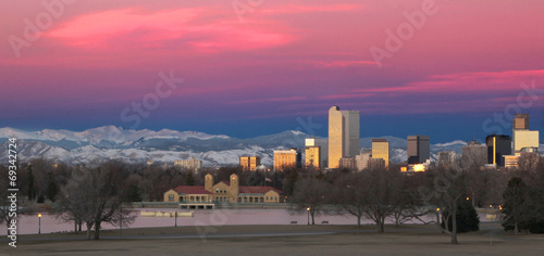 Denver Colorado and Rocky Mountain Skyline at Sunrise - 69342724