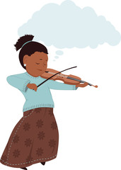 Artistic imagination. Girl playing fiddle