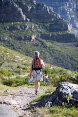 Mature woman hiking on mountain trail, carrying rucksack, using hiking pole, rear view