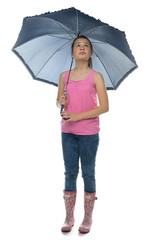Trendy young girl holding an umbrella