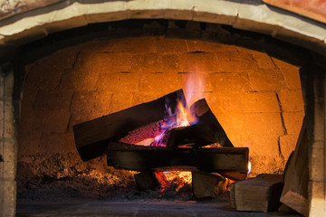 wood fireplace system with purple flame