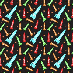 Seamless background pattern with colorful planets rockets