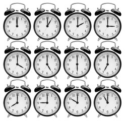 set of alarm clocks with another times isolated on white