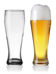 Empty and full beer in glass isolated on white backgroung