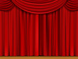 Vector Scene with Red Curtains - 69344124