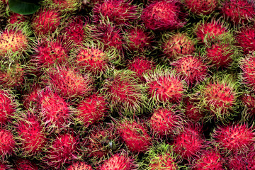 Group of Sweet Red Rambutan,Group Lay as Pattern.