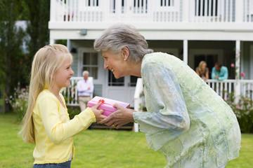Girl (4-6) presenting birthday gift to grandmother in summer garden, smiling, profile, family members on house veranda in background