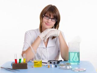 Teacher in chemistry class