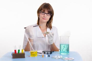Chemist with tweezers