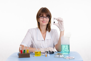 Happy girl in a laboratory