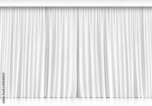 Vector White Curtains Isolated on White Background - 69344554
