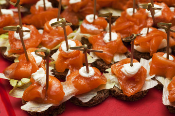 canapes with red fish, cream cheese