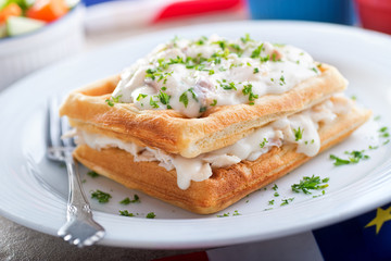 Creamed Haddock and Waffles