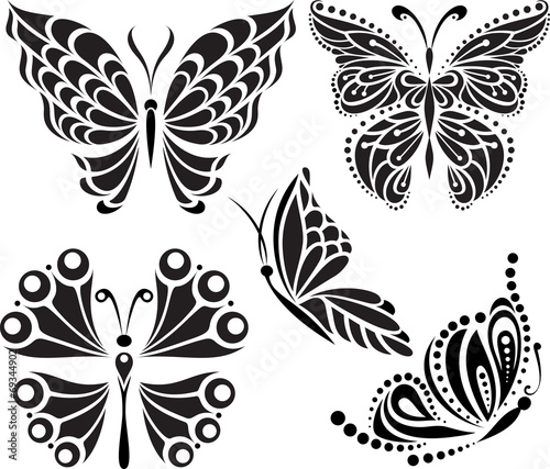 Butterflies silhouette. Drawing of lines and points. Options