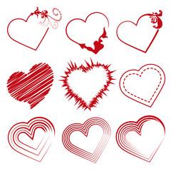 San Valentin set corazones