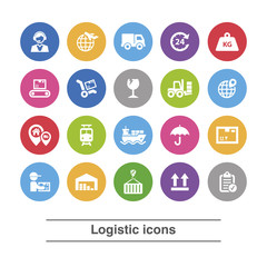 Logistic icons set.
