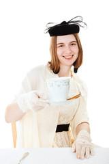 Pretty Teen Serves Tea