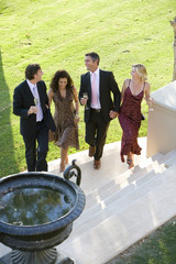 Four friends walking up steps by lawn, holding drinks, smiling, elevated view